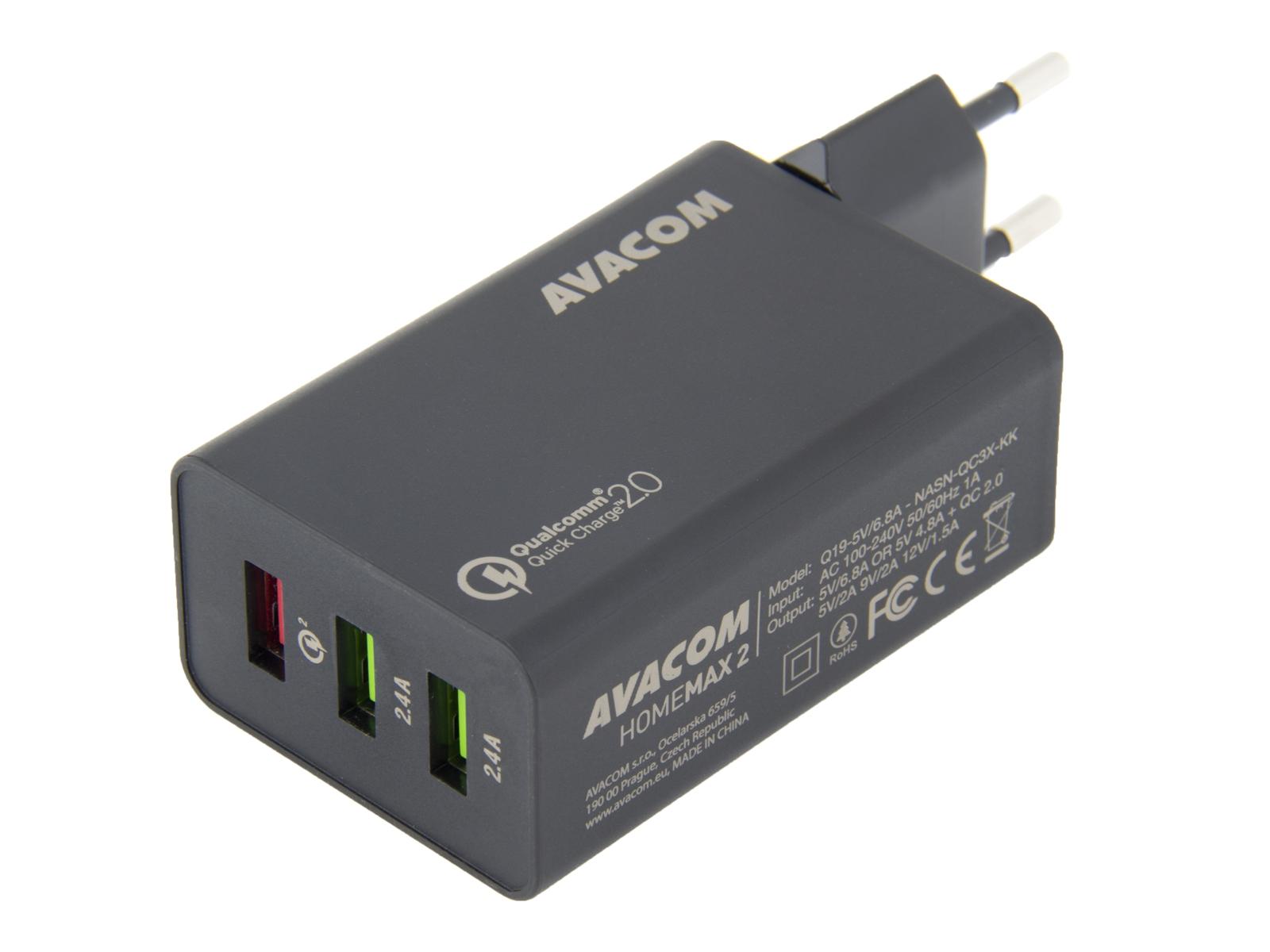AVACOM HomeMAX 2 síťová nabíječka s Qualcomm Quick Charge 2.0, 3x USB výstup, černá
