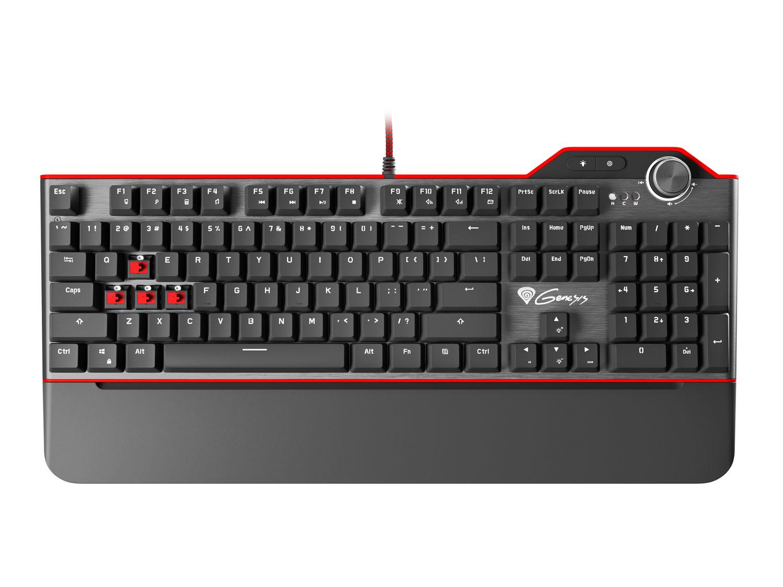 Mechanická klávesnice Genesis RX85, US layout, bílé podsvícení, Kailh Red switch