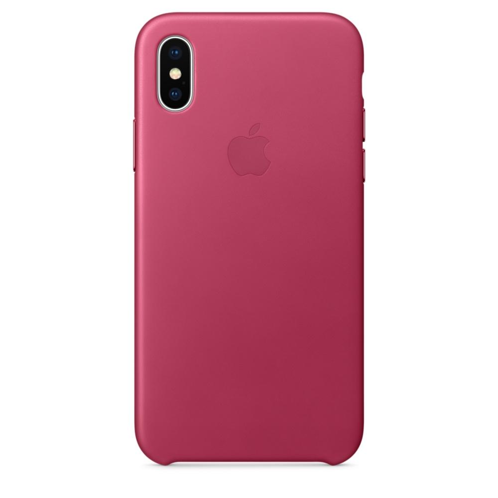 iPhone X Leather Case - Pink Fuchsia