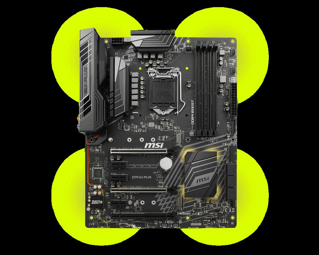 MSI Z370 SLI PLUS s. 1151, Z370, 3x PCI-E x1, 3x PCI-E x16, 4x DDR4, SATA III, USB 3.1, DVI, HDMI, ATX