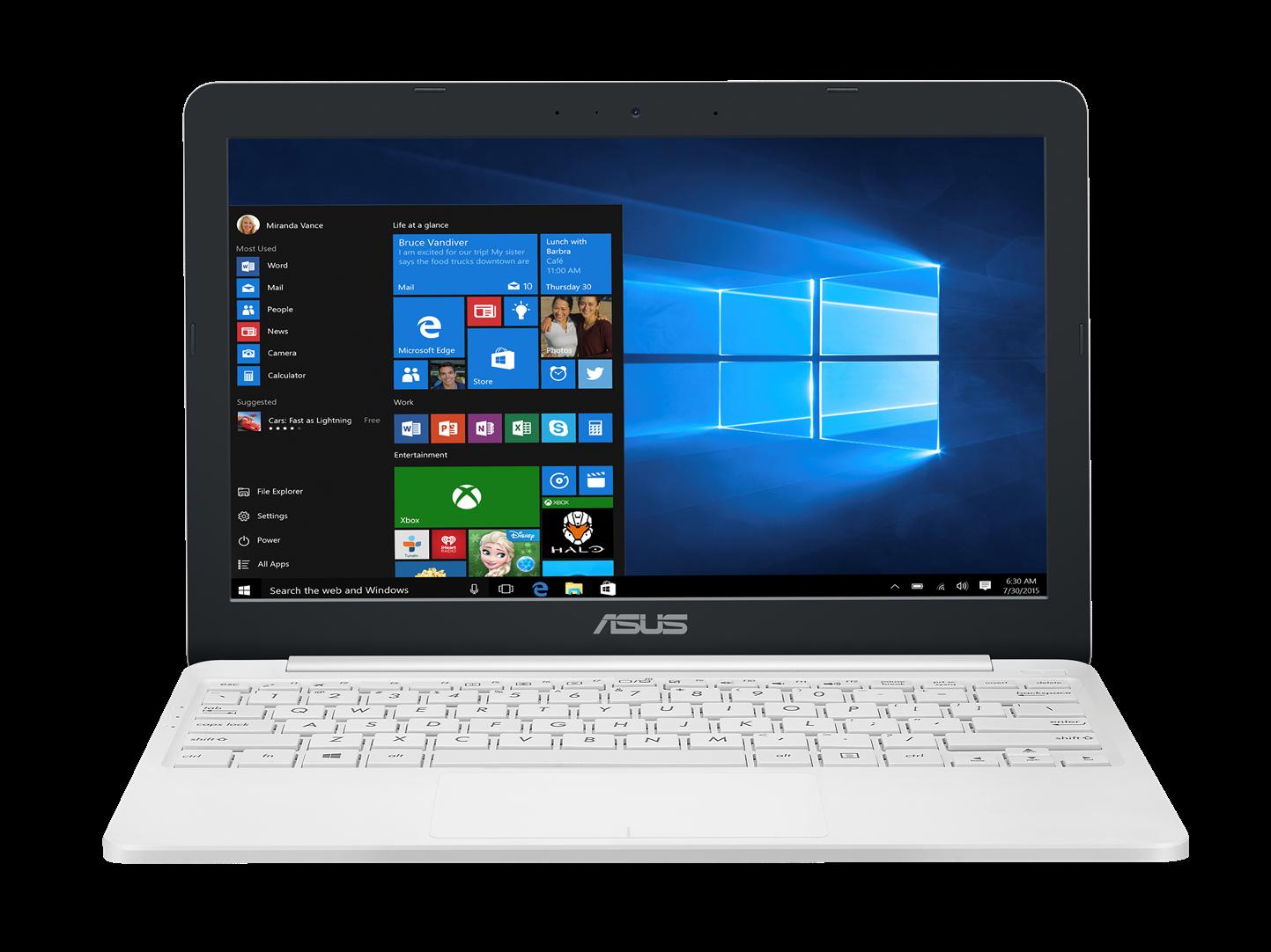"""ASUS E203NA-FD108TS Celeron N3350/4GB/32GB EMMC/Intel HD Graphics 500/11,6"""" 1366x768 HD/BT/Glare/W10 Home/White"""