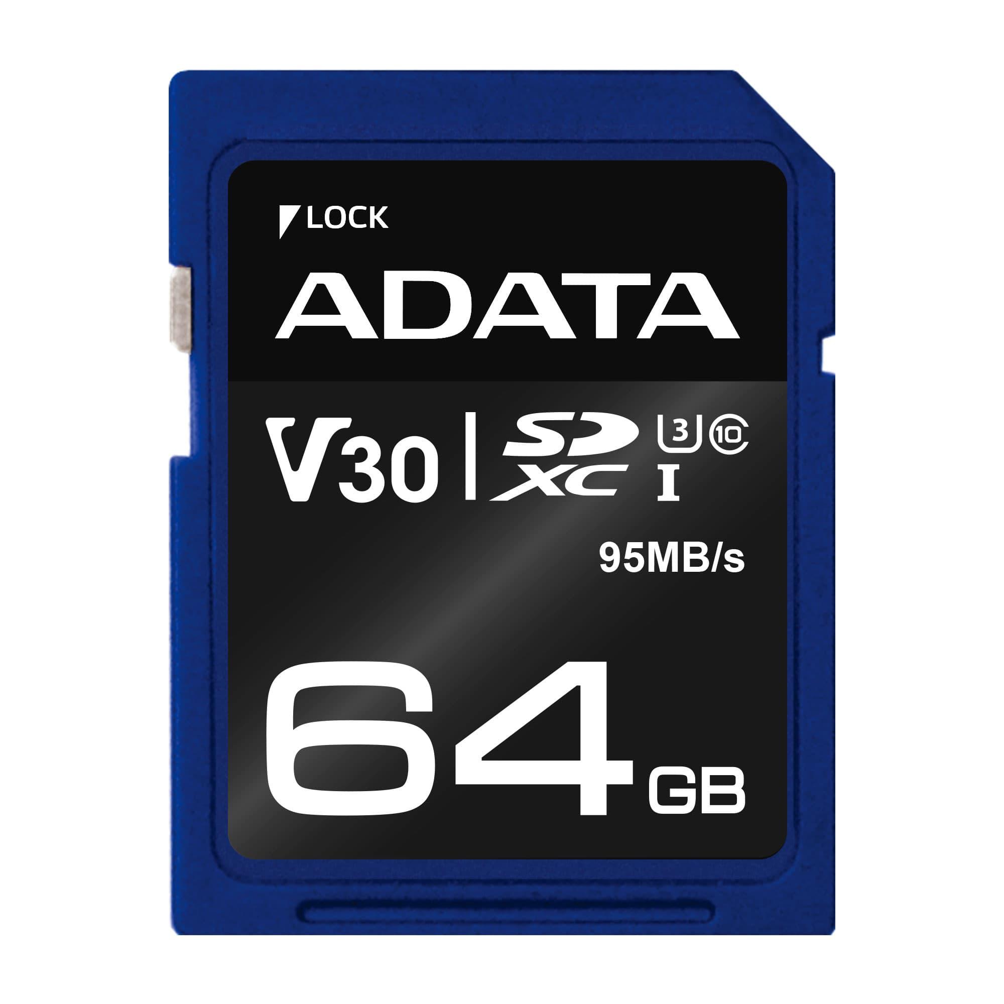 ADATA SDXC 64GB UHS-I U3 V30S 95/60MB/s
