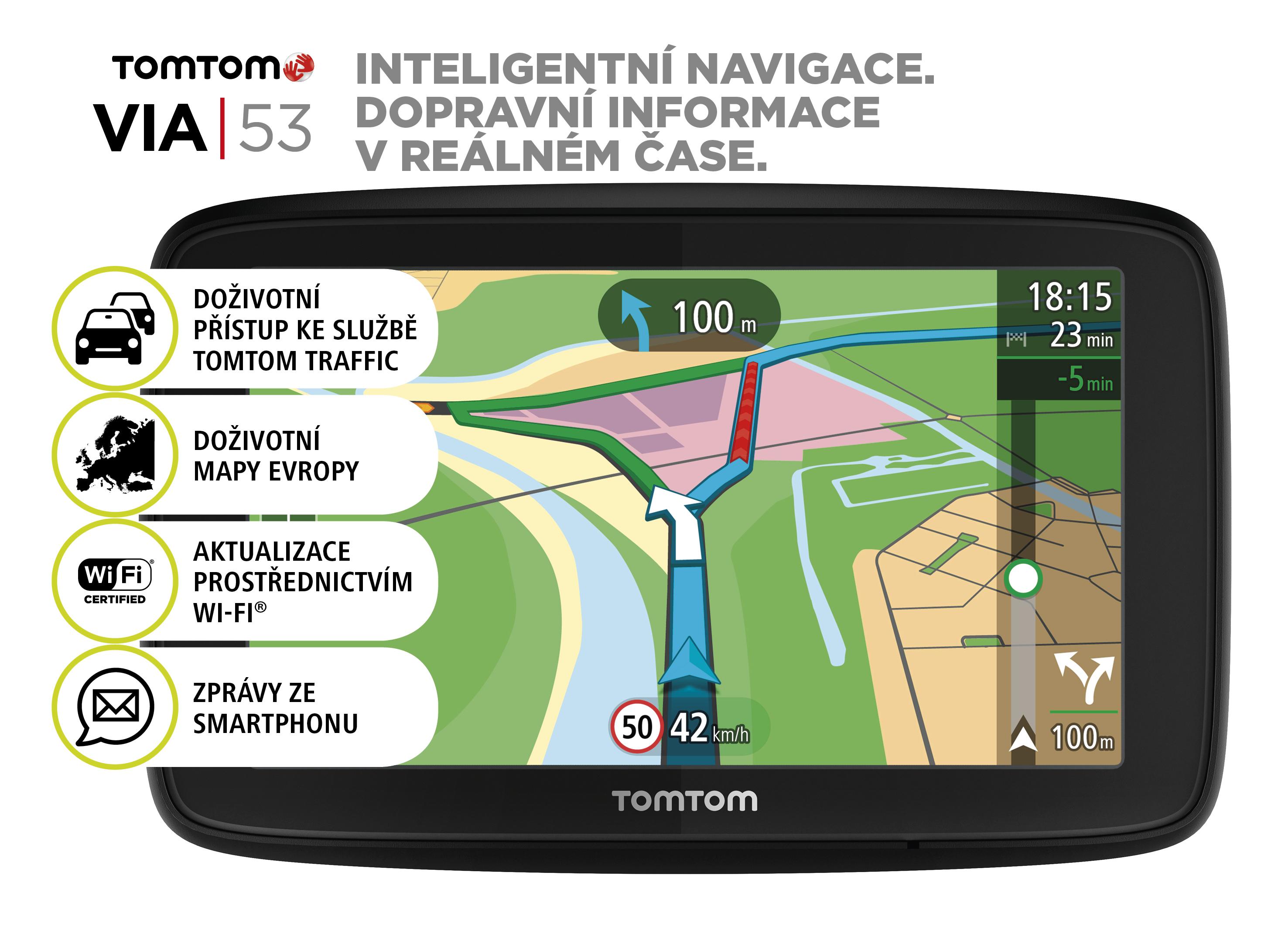 TomTom VIA 53 Europe, Wi-Fi, LIFETIME mapy