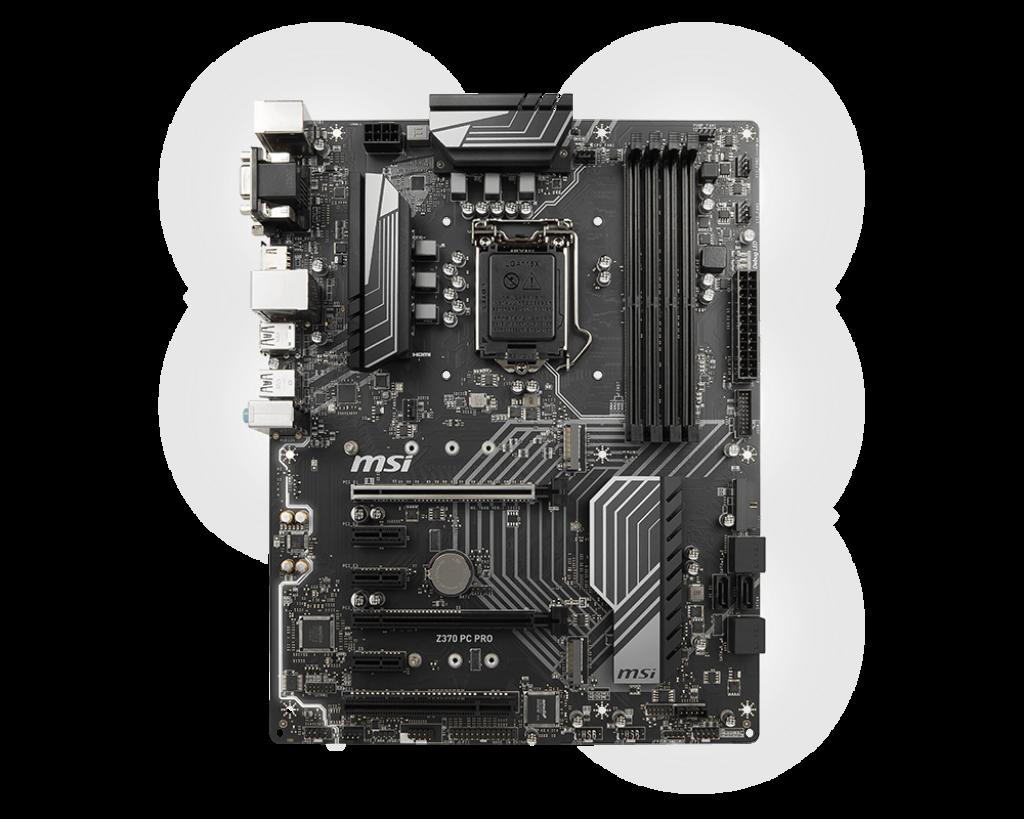 MSI Z370 PC PRO, s. 1151, Z370, 1xPCI 32bit, 3xPCI-E x1, 2xPCI-E x16, 4x DDR4, SATA III, USB 3.1, D-Sub, DVI, HDMI, ATX
