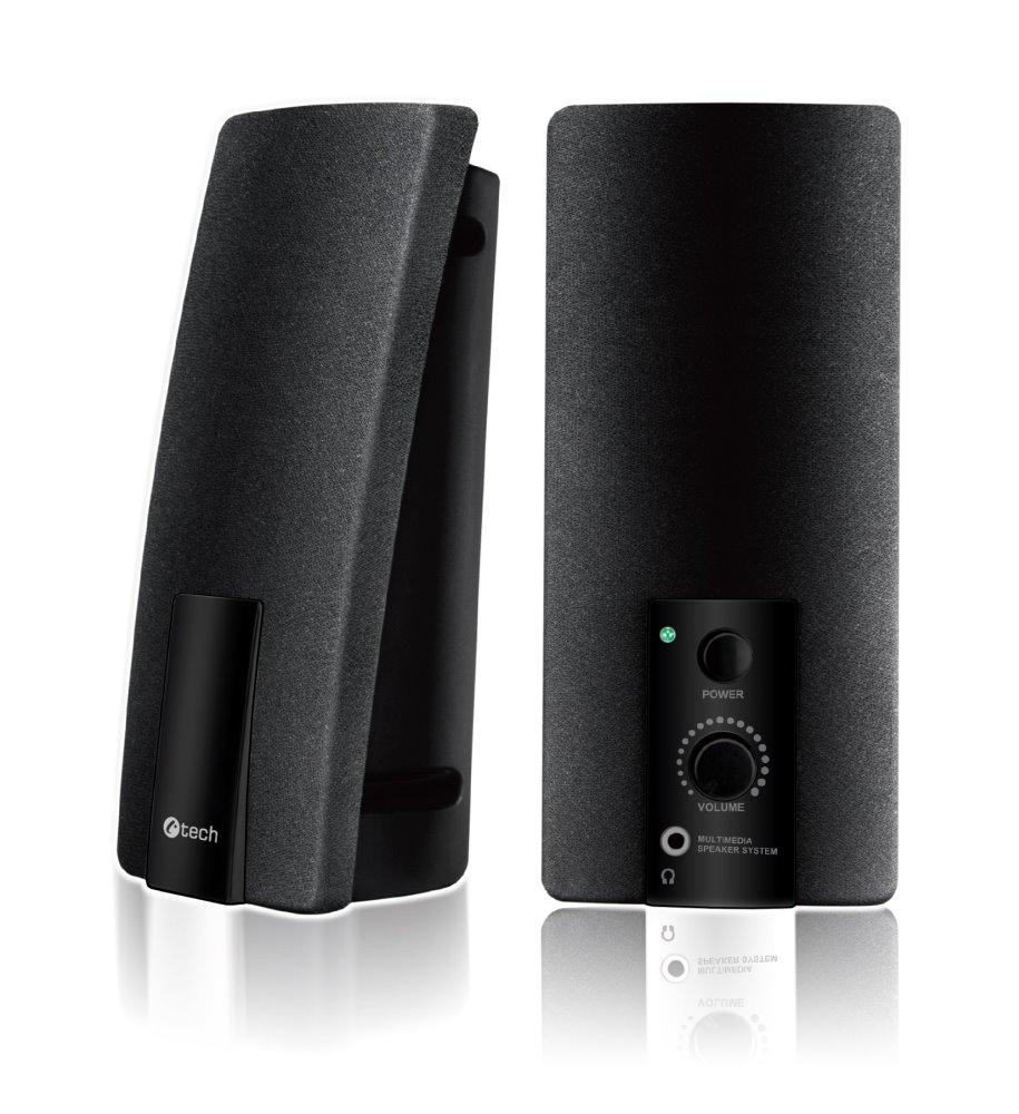 C-TECH reproduktory SPK-01, 2.0, černé, USB napájení, 3,5mm jack