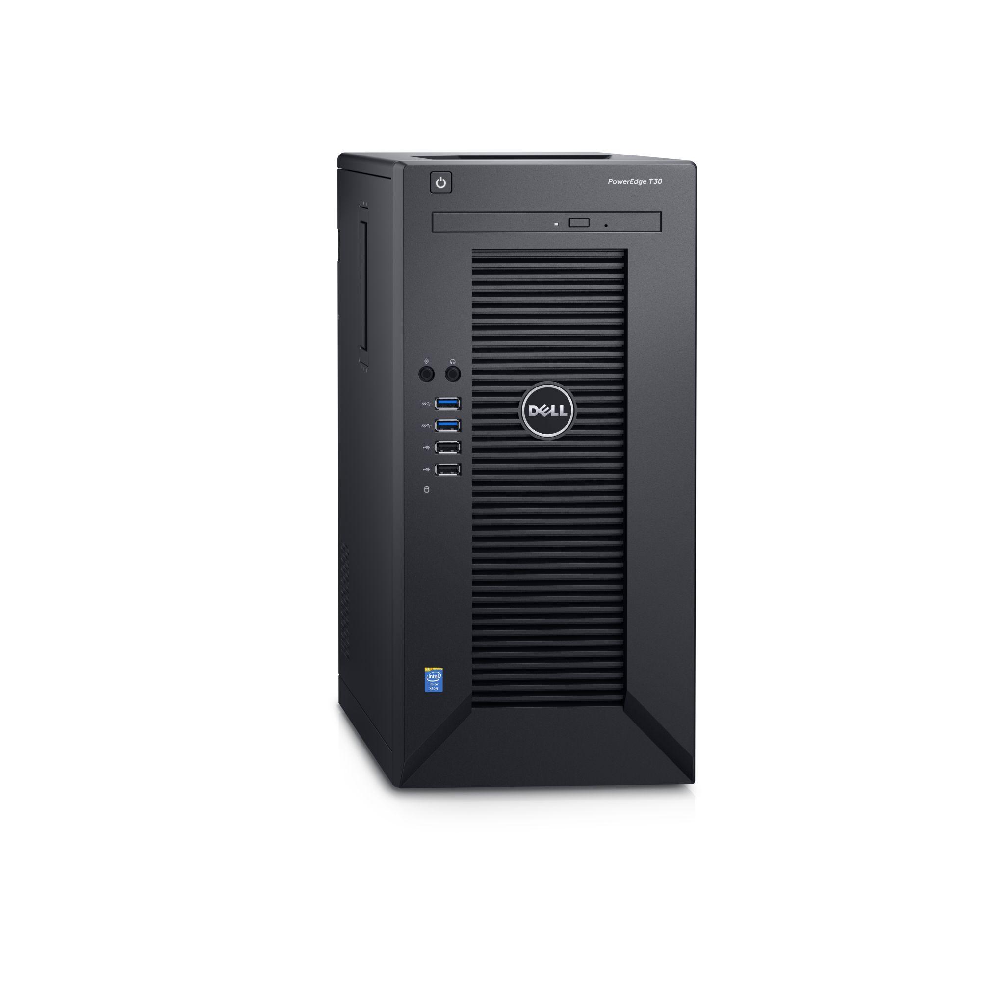 Dell PowerEdge T30 E3-1225 v5/8GB/2x2TB SATA/RAID 1/DVDRW/1xGLAN/290W/3RNBD/Černý