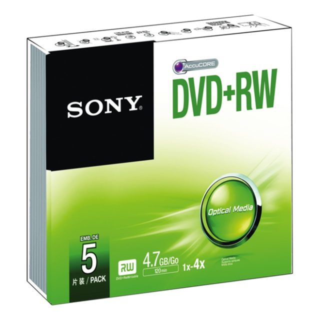 Sony DVD-RW 4,7GB 16x, 5ks (5DPW47SS)