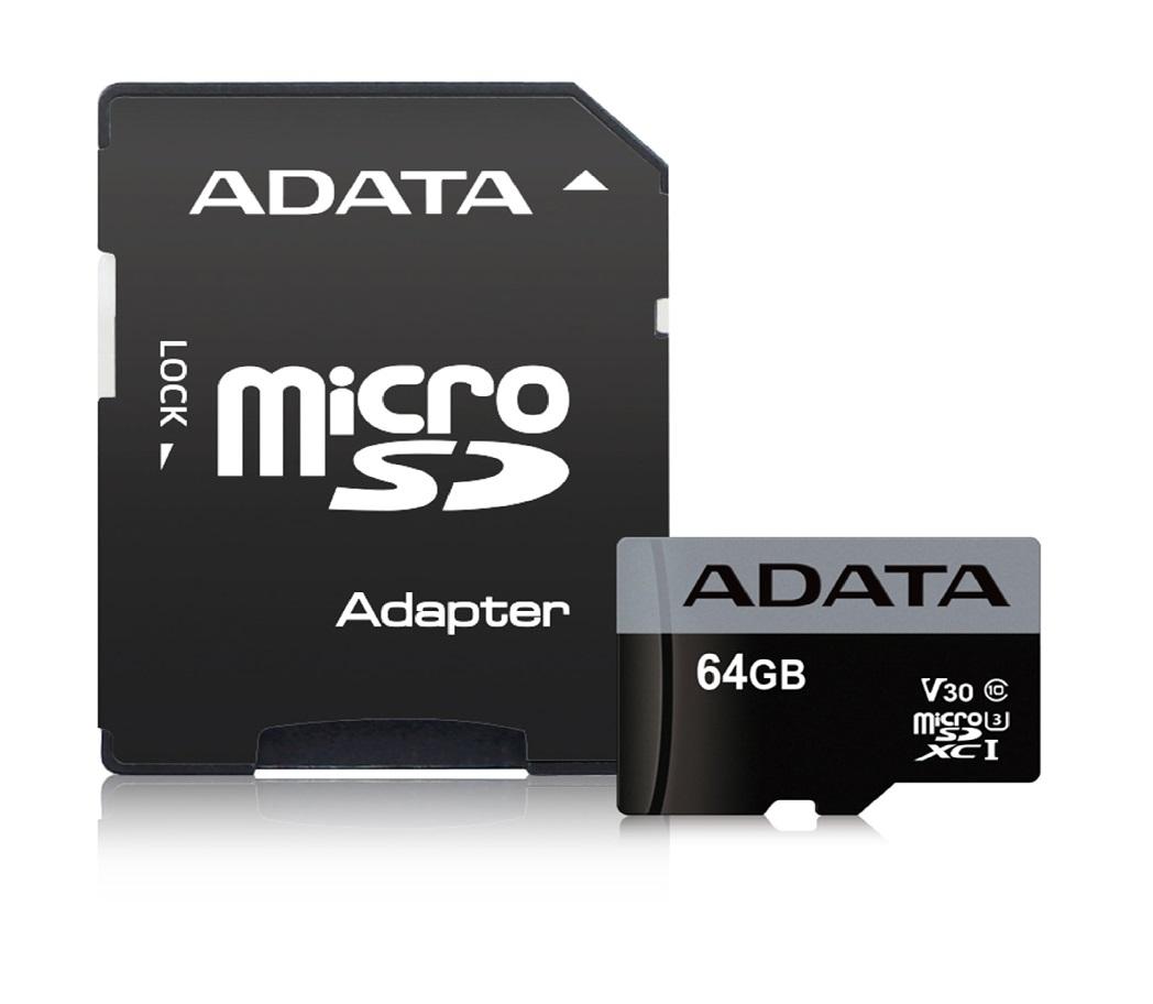 ADATA paměťová karta 64GB Premier Pro micro SDXC UHS-I U3 V30S (čtení/zápis: 95/50MB/s) + SD adaptér