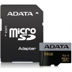 ADATA MicroSDXC 64GB U3 V30G 95/90MB/s + adapter