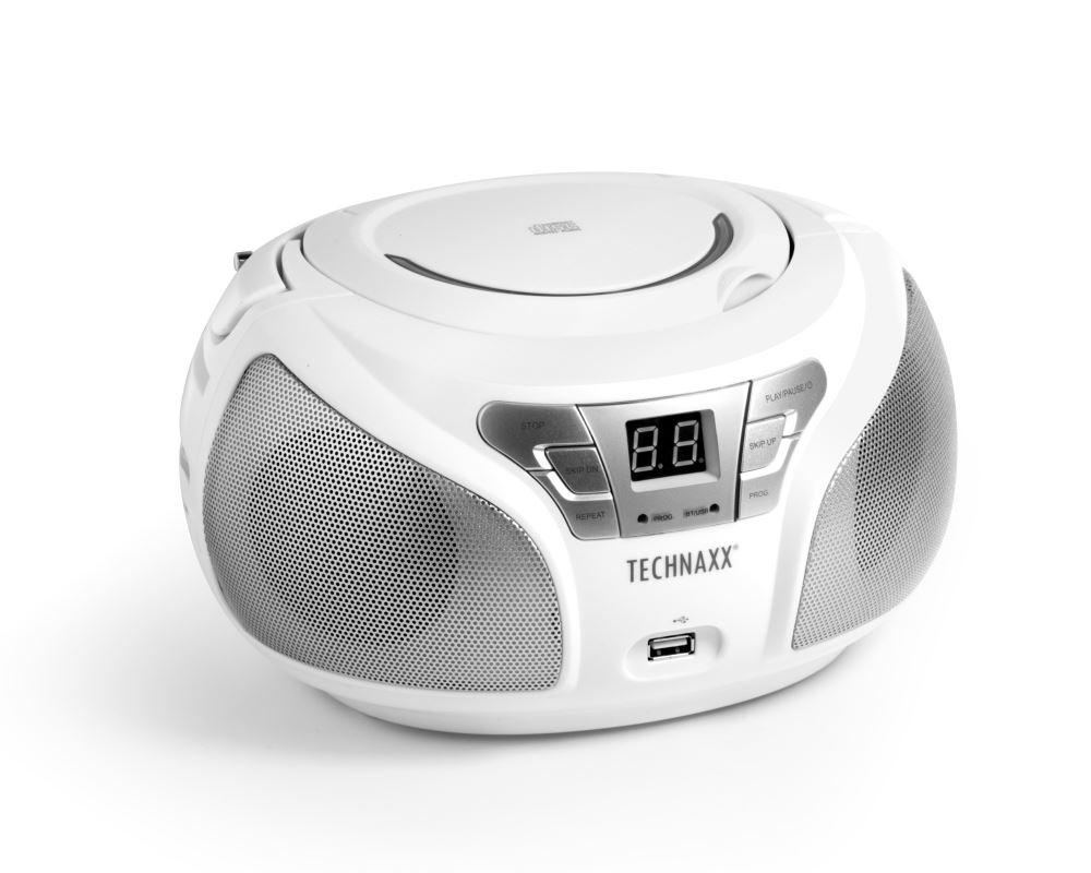 Technaxx Boombox CD přehrávač, BT, FM, USB, bílý