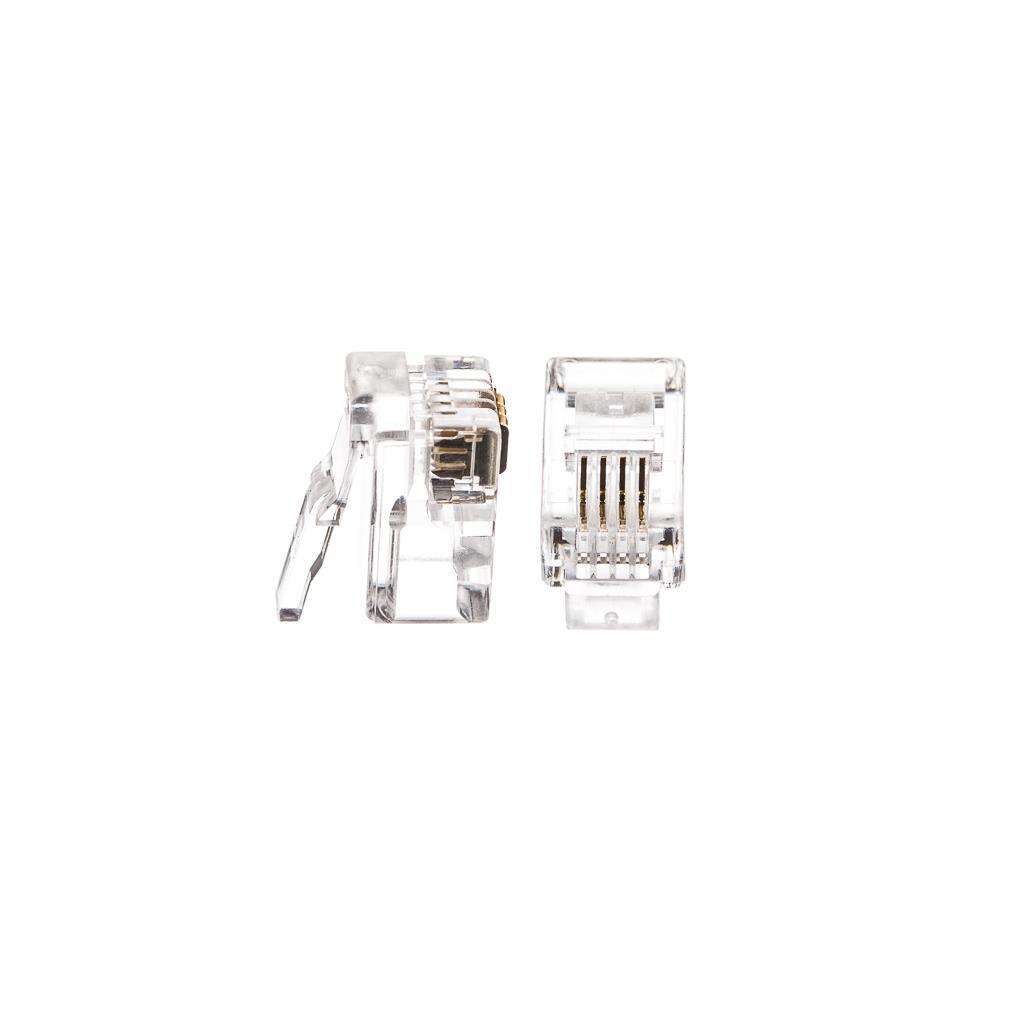 Netrack telefonní konektor RJ9/RJ10, 4p4c drát (100ks)