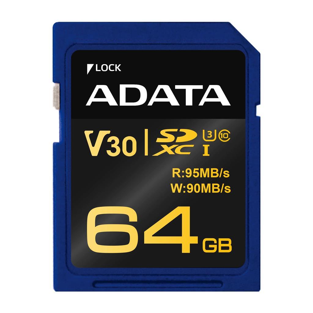 ADATA Premier Pre SDXC UHS-I U3 Class 10 64GB (čtení 95MB/s, zápis 90MB//s)
