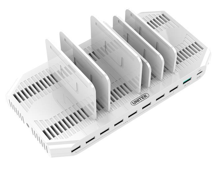 Unitek Y-2190 nabíjecí dokovací stanice 160W 10x USB 2.4A + QC3.0 + USB-C