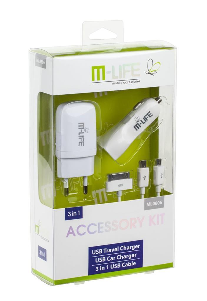 Kit M-Life USB nabíječka 1A a 2.1A nabíječka do auta + USB 3v1