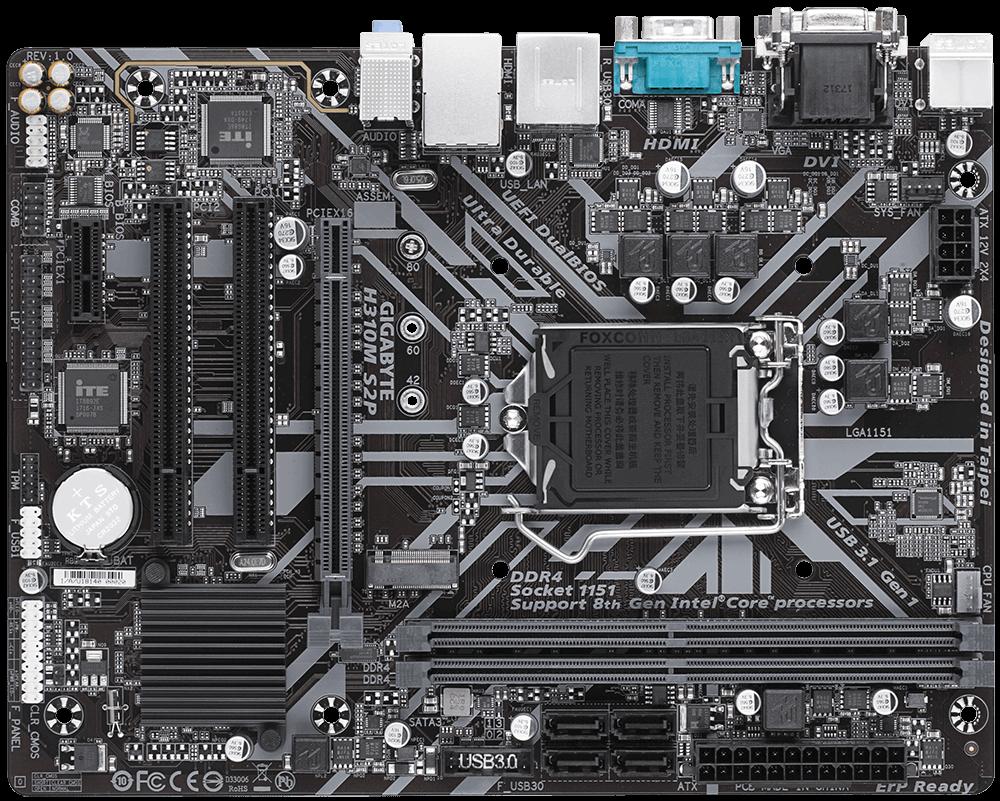 GIGABYTE MB Sc LGA1151 H310M S2P, Intel H310, 2xDDR4, VGA, mATX