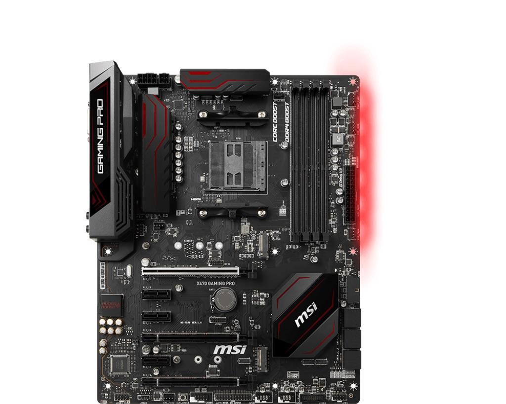 MSI X470 GAMING PRO, AM4, DDR4-3466, 6*SATA 6Gb/s,, 2xUSB 3.1 Gen2