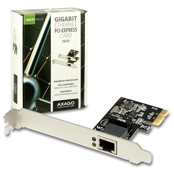 AXAGO PCI-Express Gigabit Ethernet Realtek + LP