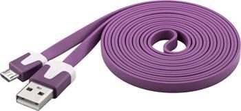 PremiumCord Kabel micro USB 2.0, A-B 2m, plochý PVC kabel, fialový