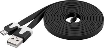 PremiumCord Kabel microUSB 2.0, A-B, plochý, černý