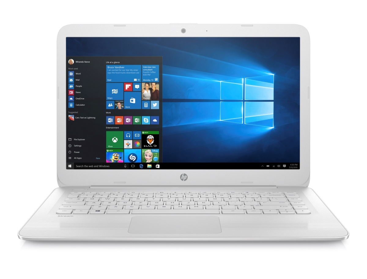 "HP Stream 14-ax006nc / Celeron N3060 dual / 4 GB / 64 GB eMMC / Intel HD / 14"" HD / Win 10 / bílá"