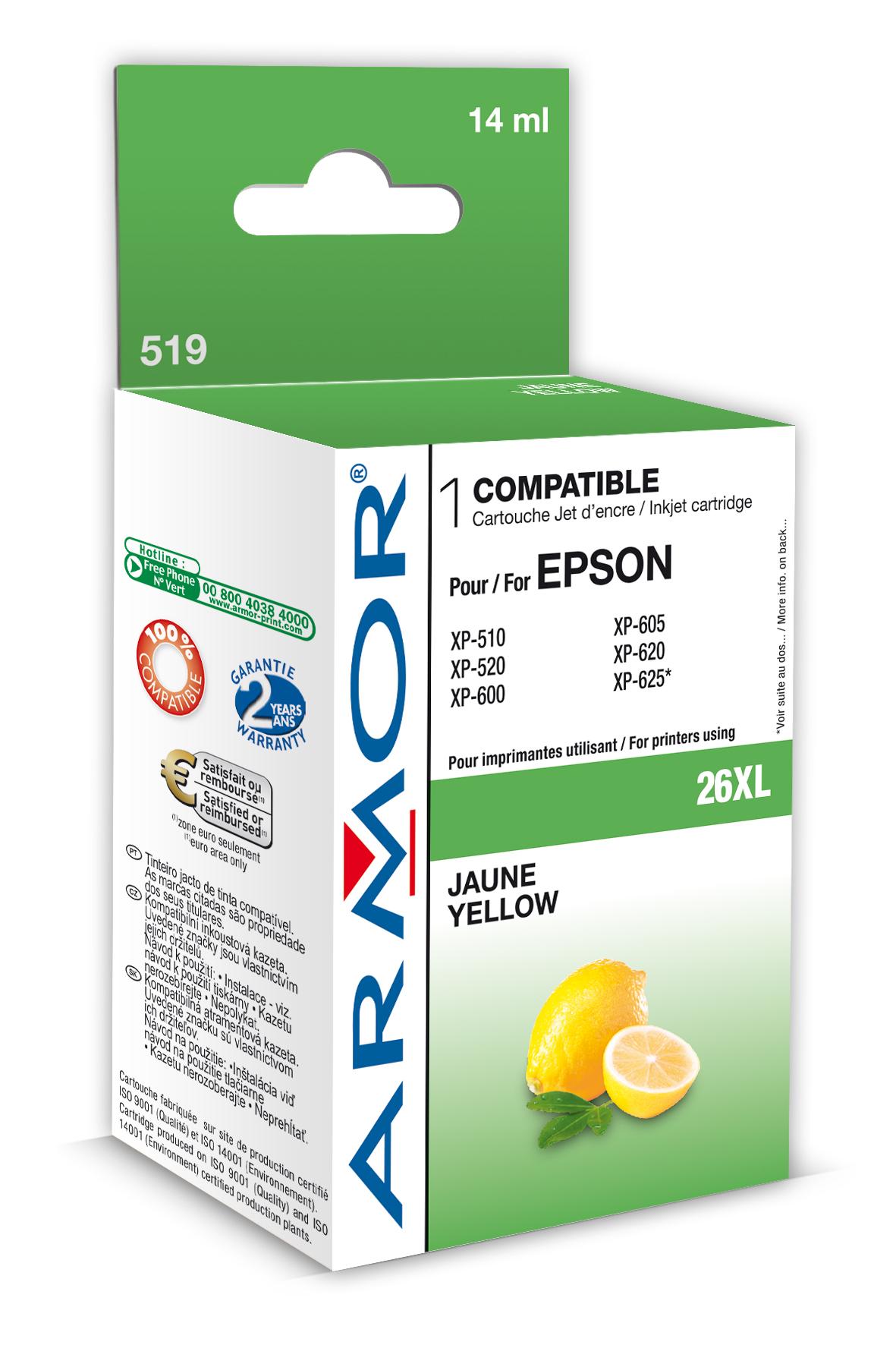 Armor ink-jet pro Epson XP510/520 T26344010 Y