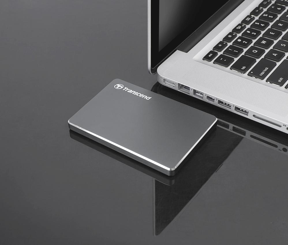 """TRANSCEND 2TB StoreJet 25C3N, 2.5"""", USB 3.0 (3.1 Gen 1) Stylový externí hard disk, ultra-tenký, ocelově šedý"""