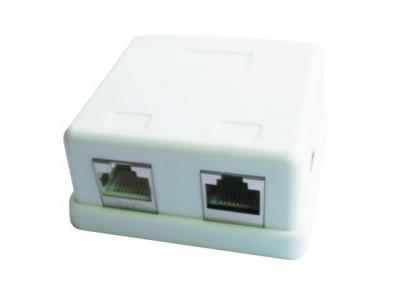 Gembird zásuvka kat.5e STP 2xRJ45 na omítku, bílá, polo-stíněná