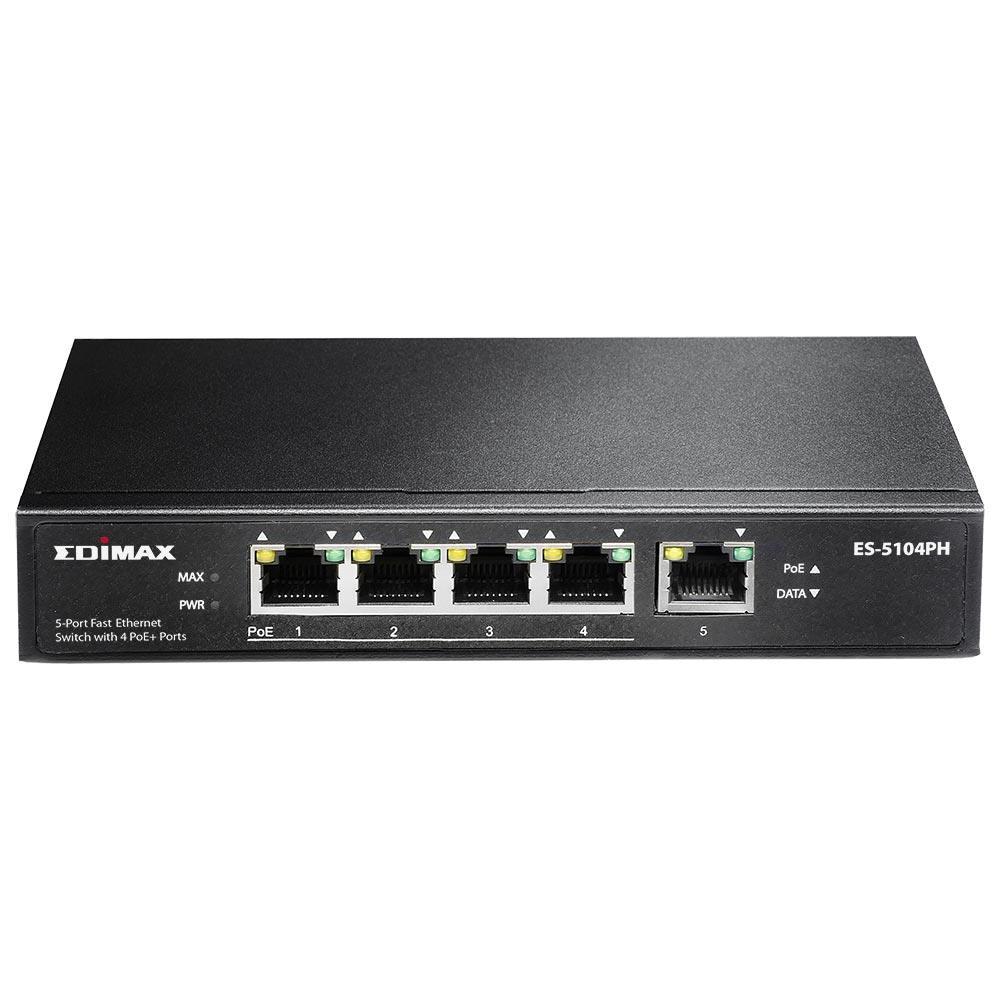 Edimax 5x 10/100 Switch, 4x PoE+ ports, ext. power, 802.3af/at,55W budget (30W/p