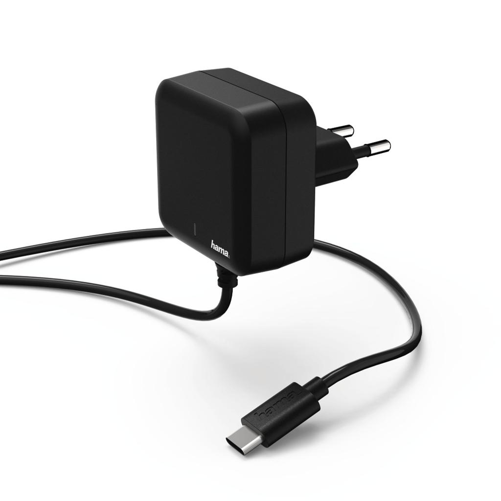 Hama rychlá síťová nabíječka s kabelem, USB typ C (USB-C), Power Delivery, 3 A