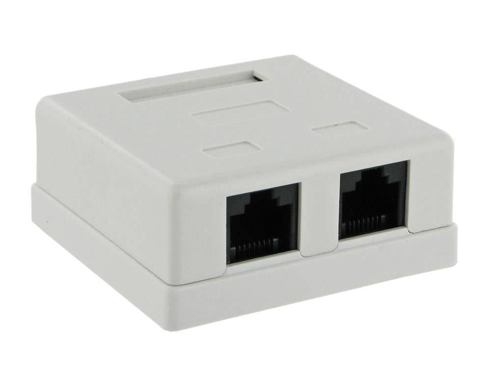 4World konektor cat 5e 2xRJ45 na omítku, bílá, UTP, nestíněná