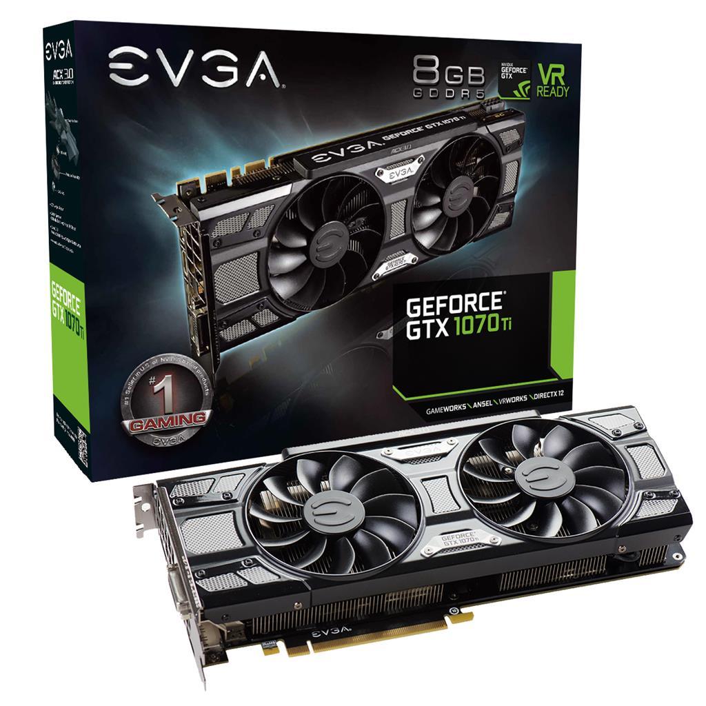 EVGA GeForce GTX 1070 Ti SC GAMING, 8GB GDDR5, ACX 3.0 & Black Edition