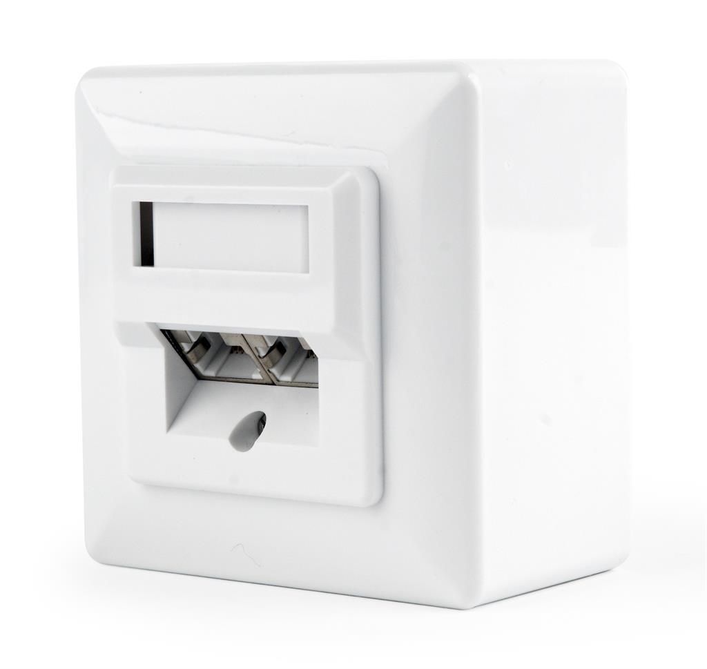 Gembird zásuvka kat. 5e STP 2xRJ45 na i pod omítku, bílá, stíněná