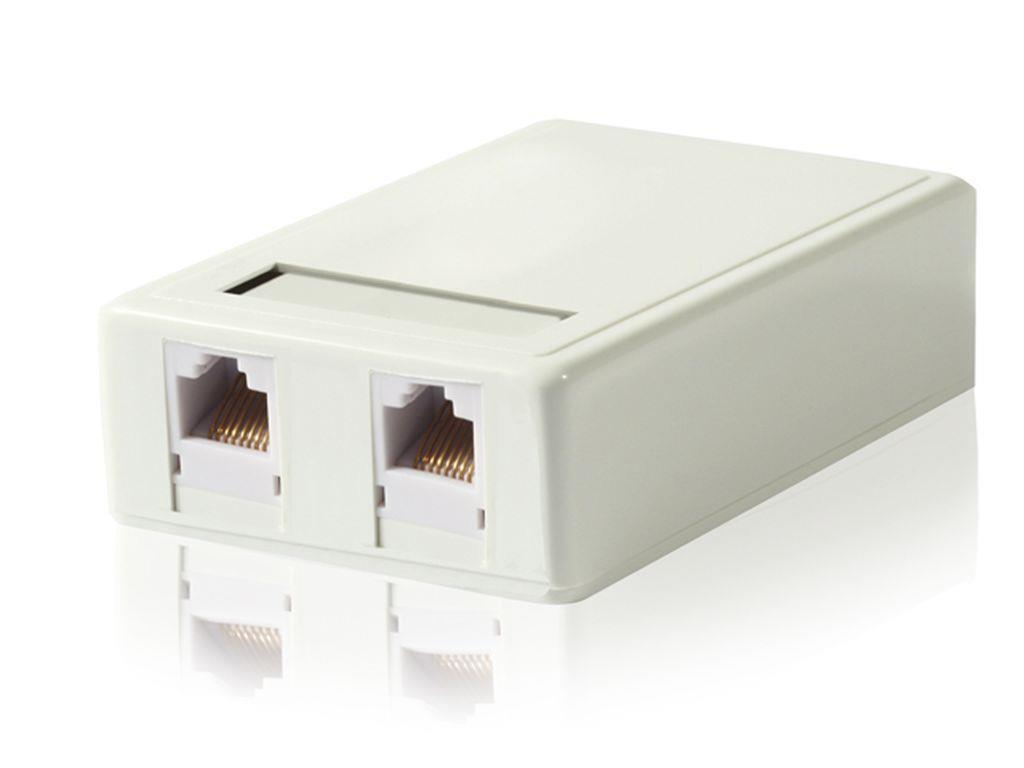 Gembird zásuvka kat. 6 STP 2xRJ45 na omítku, bílá, stíněná