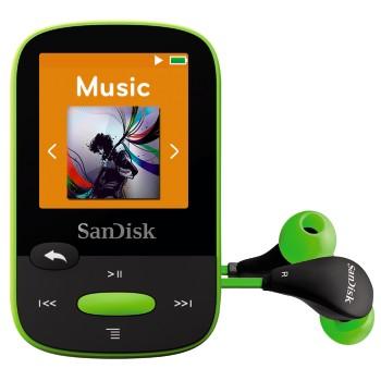 SanDisk Clip Sports 8 GB, FM rádio, MP3, WMA, microSDHC, zelená