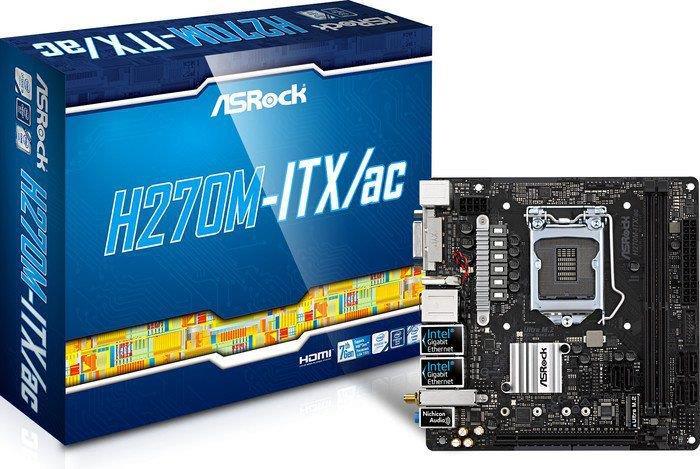 ASRock H270M-ITX/ac, INTEL H270 Series,LGA1151,2 DDR4, 1 x M.2 (top side)