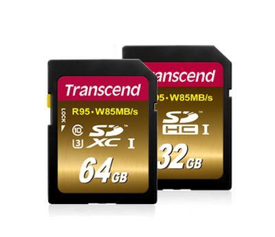 Transcend 64GB SDXC UHS-I U3X paměťová karta, 95 MB/s R, 85 MB/s W
