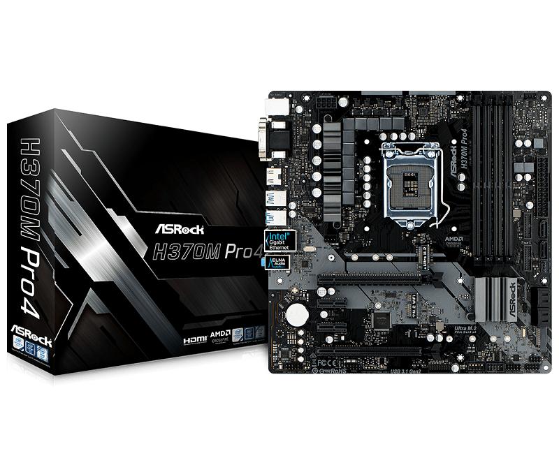 ASRock H370M PRO4, INTEL H370 Series, LGA1151, 4 DDR4, 6 x SATA3