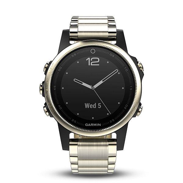 Garmin GPS sportovní hodinky fenix5S Sapphire Goldtone Optic, Metal band