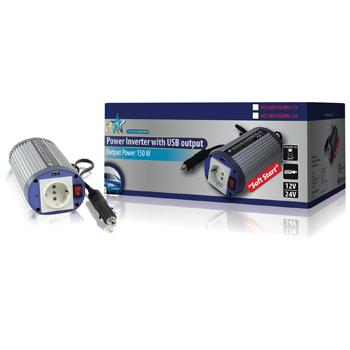 HQ INV150WU-12 - měnič 12V/230V, 150VA, USB, zásuvka Shukko