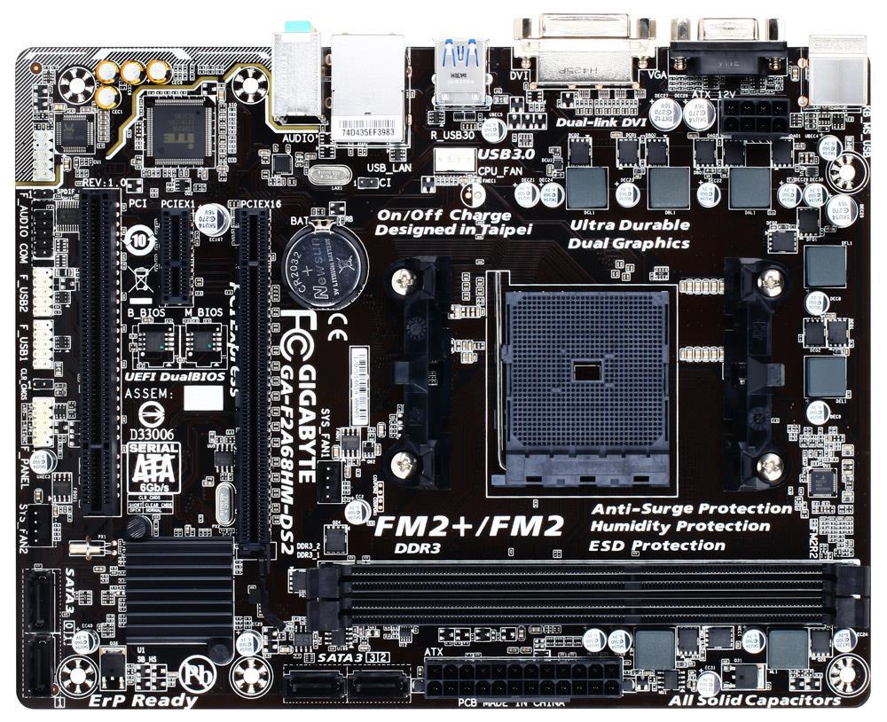 Gigabyte GA-F2A68HM-DS2, A68H, DualDDR3-2133, SATA3, RAID, DVI, mATX