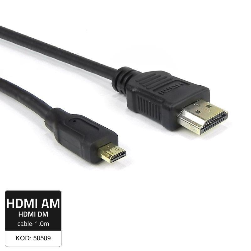 Qoltec HDMI cable A male | Micro HDMI D male | 1m