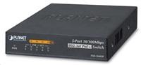 Planet FSD-504HPv2, switch 5x 10/100, 4x 802.3at PoE injektor do 60W, externí napájení 48V, fanless