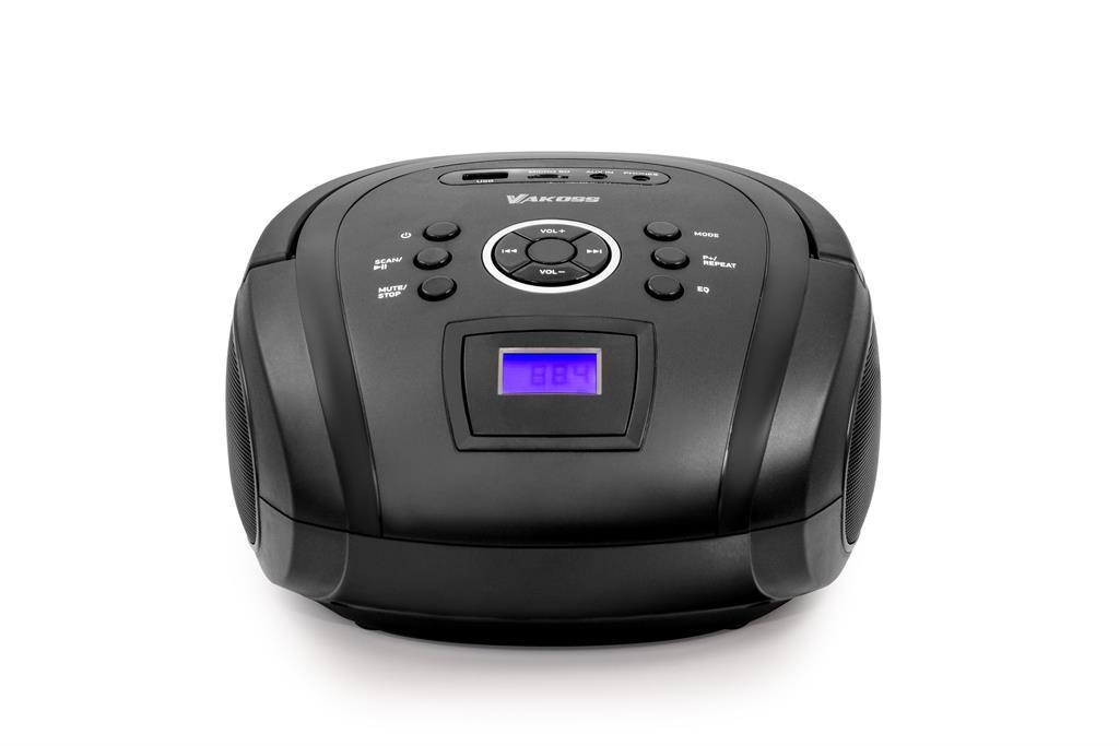Vakoss Boombox PF-6538K / Bluetooth/ FM/ USB/ Micro SD/ LCD displej, Černá