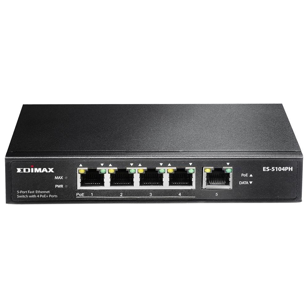 Edimax 5x 10/100 Switch, 4x PoE+ ports, ext. power, 802.3af/at,55W budget (30W/p