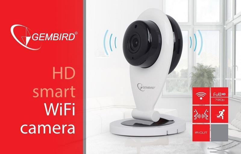 Gembird HD WiFi kamera, bílá