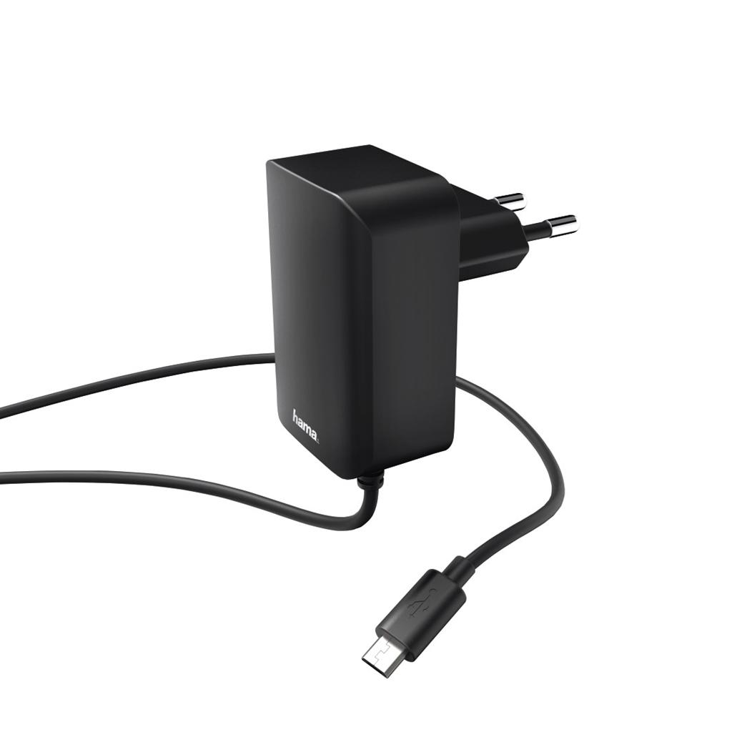 Hama síťová nabíječka s kabelem, micro USB, 2,4 A, černá, #183247