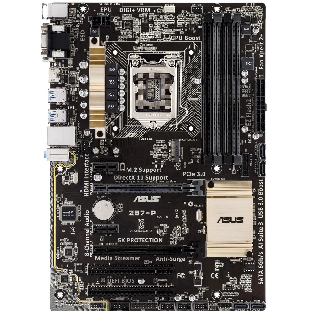 ASUS Z97-P, s.1150, Z97, 4x DDR3, DVI-D/HDMI/VGA, PCIe 3.0 x16, GLAN, 8CH, USB 3.0, ATX