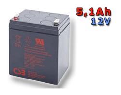CSB Náhradni baterie 12V - 5,1Ah HR1221W F2 - kompatibilní s RBC29/30/43/44/117/118