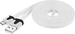 PremiumCord Kabel micro USB 2.0, A-B 2m, plochý PVC kabel, bílý