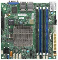 SUPERMICRO mini-ITX MB Atom C3758 (4-core), 4x DDR4 ECC DIMM, 8xSATA, 1x PCI-E 3.0 x4, 4x 1GbE LAN, IPMI